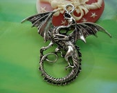 5 pcs 47x43mm Antique silver Huge Large Flying Dragons Charms Pendants g970632