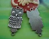10 pcs 34x14mm Antique Silver Owls double loops connectors Charms Pendants fc96095
