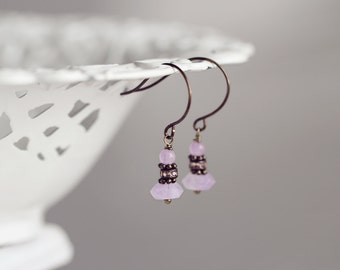Pink Jade & Amethyst Earrings. Simple, Modern, Dainty Gemstone Earrings in Lilac Purple