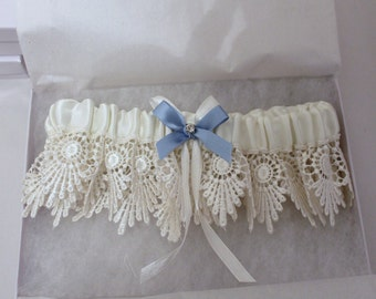 Bridal Garter -  Vintage Inspired Bridal - Something Blue - Garter Set