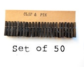 Mini Clothespins - Licorice / Black - 50 Small