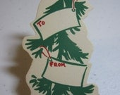 1940's-50's unused die cut christmas gift tag graphics of a christmas tree