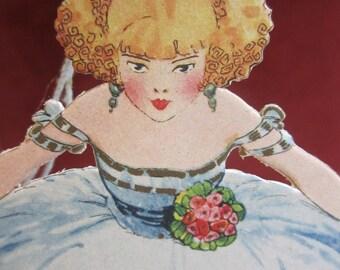 Gorgeous unused round 1920's art deco red head flapper crinoline girl bridge tally card wearing blue dress holding fan