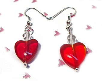 Red Heart Dangle Earrings with Crystal Beads