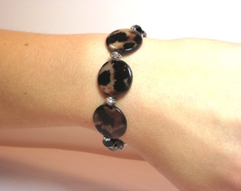 Leopard Disc - Interchangeable Beaded Watch Band
