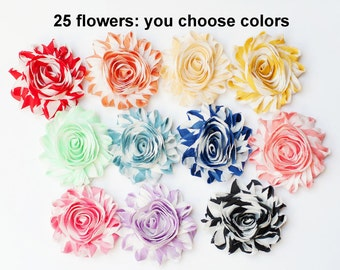 Shabby Flowers Striped - Fabric Flowers - You Choose 25 Fabric Flowers - Chiffon Flower Rosettes - Flower Trim - Wholesale Flowers