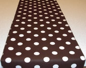 11 x 108 inch Eco Friendly Brown and White Polka Dot Table Runner