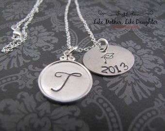Hand Stamped Jewelry - Initial Necklace - Perfect Graduation Necklace - Sterling Silver Valentine's Day