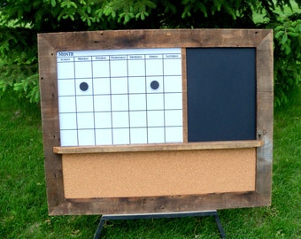 custom made barnwood framed message center with magnetic dry erase calendar chalkboard or dry erase board and corkboard
