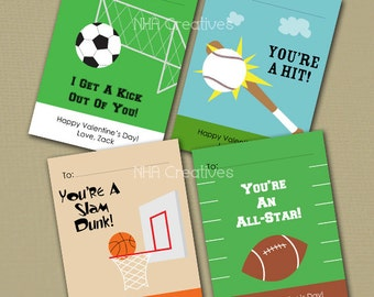 Personalized Sports Valentine's Day Cards - Soccer, Baseball, Basketball, Football -  Set of 4 - DIY Printable Digital File