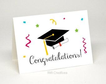Congratulations Graduation Card - Graduation Cap and Diploma - DIY Printable Digital File