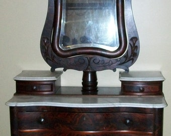Flame Mahogany Empire Chest of Drawers with Mirror Marble Top