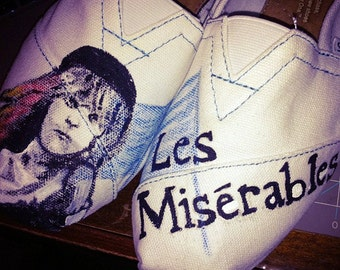 Les Miserables Custom Painted Toms Shoes, French Flag, Cossette