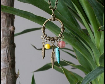 Antique Brass Feather Dream Catcher Charm Necklace - Turquoise, Coral, Pearl - Tribal - Native