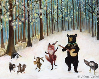 Print, Forest Festivities, Woodland Art, Nursery Art, Animal Band, Home Decor