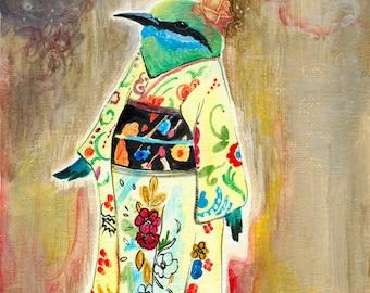 Print, Kimono Bird, Geisha Bird