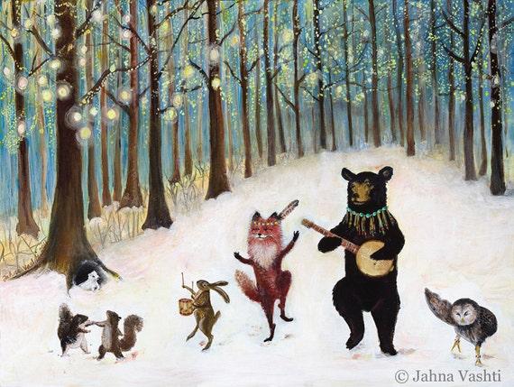 "11x14"" Print, Forest Festivities, Woodland Art, Nursery Art, Animal Band, Home Decor"