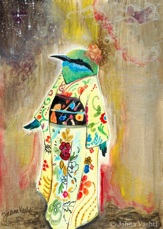 Print // Bird Art // Geisha art // Kimono // Whimsical decor