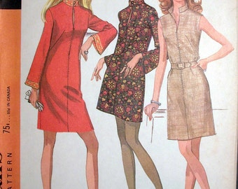 """McCalls Dress Pattern No 9585 UNCUT Vintage 1960s Size 14 Bust 36"""" Sleeveless or Long Bell Sleeves Front Zipper A Line High Collar"""