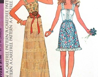 """McCalls Dress Pattern No 4021 UNCUT Vintage 1970s Size 10 Bust 32 1/2"""" Skirt in Two Lengths Sleeveless Top Blouse With Shoulder Straps Cute"""
