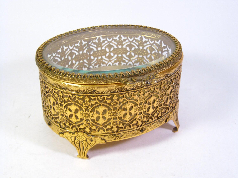 Vintage Gold Filigree Jewelry Box Beveled Glass Top Jewelry