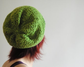 Green Crochet Hat for Women and Men, Olive Green Slouchy Beanie, Slouchy Hat, Winter Accessories, Spring Fashion, Fall Fashion