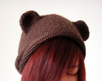 Hand Crocheted Bear Hat in Brown for Adult, Teddy Bear Beanie, Women Hat, Crochet Hat, Slouchy Beanie, Spring Accessories - lapuzelo