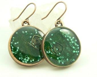 Orgone Energy Earrings - Positive Energy Generator - Dangle Earrings - Malachite Gemstone in Copper - Artisan Jewelry