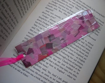 Pink Collage Bookmark, Laminated Bookmark