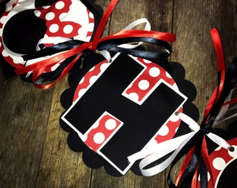 Classic Minnie Mouse birthday Banner - red and white polka dot