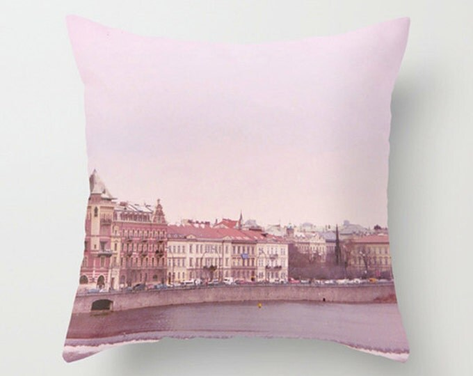Prague Sofa Pillow, Pink Accent Pillow, Urban Cityscape Throw Pillow Cover, Architecture Riverbank 18x18 22x22 Decorative Pillow Cushion