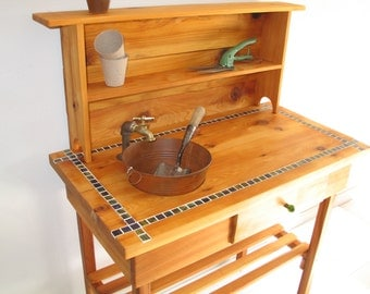 Potting Bench - Faucet, Sink, Shelf and Drawer with Blue or Brown Glass Tile. (please specify tile color on your order)