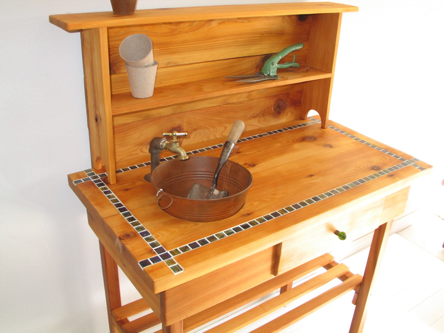 Custom Potting Bench For Jim Faucet Sink Shelf And Drawer