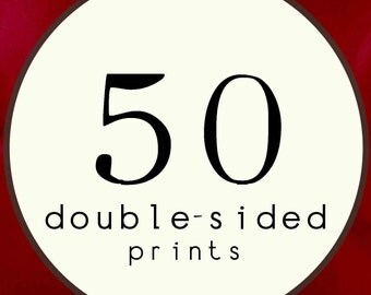 50 PRINTS - DOUBLE SIDED Printed Invitations Cards - 120482905