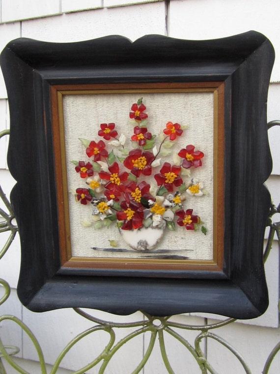 Resin art floral arrangement 60s wall decor updated frame for Resin wall art