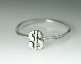 Cute Sterling Silver Dollar Sign Ring