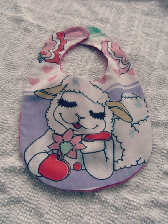 Lamb Chop Baby BIB flannel soft back Repurposed Vintage LambChop Sheets Velcro Reversible Shari Lewis
