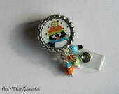 Fun Winter Penguin - Retractable Badge Reel - Winter Badge Clips - Stocking Stuffers - Cute ID Holders - Beaded Badge Pulls - Fun ID Clips