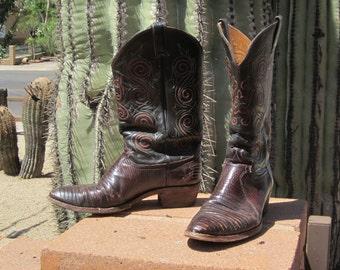 Justin Lizard Cowboy Boots Fancy Yellow Orange Stitching Size 10