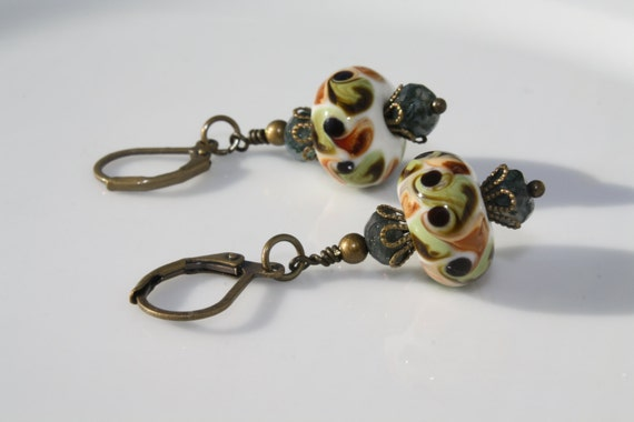 Autumn Color Shades of Green, Brown, and White Lampwork Glass Bead Earrings