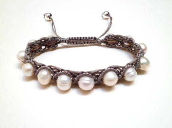 Freshwater Potato Pearl & Sterling Silver Macrame Knot Friendship Cord Bracelet