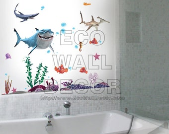 PEEL and STICK Removable Vinyl Wall Sticker Mural Decal Art - Finding Nemo and Shark Underwater III