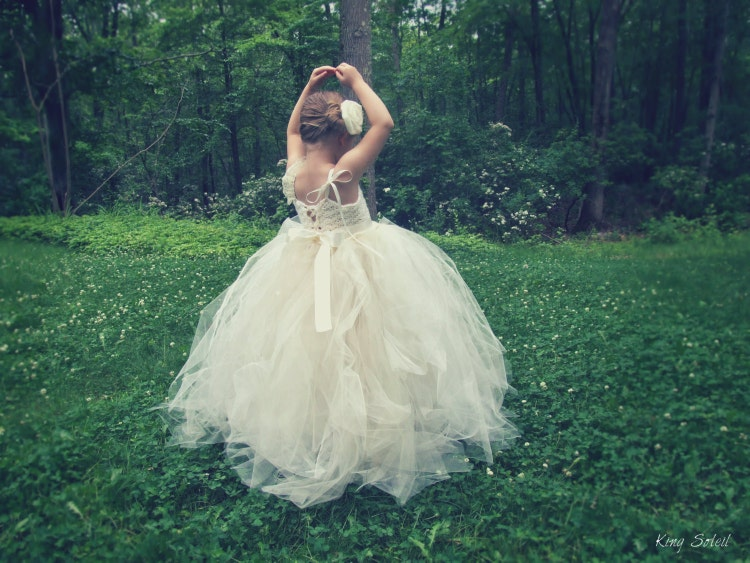 Rose Tulle Flower Girl Dress by KingSoleil on Etsy