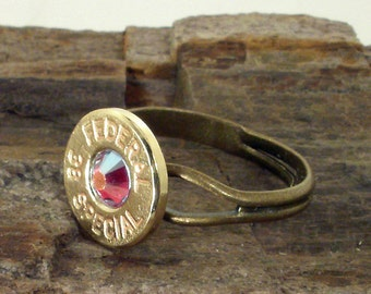 Bullet Jewelry - Red AB Crystal Bullet Casing Ring - Federal 38 SPL