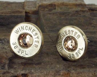 Winchester 38 SPL Bullet Earrings - Ultra Thin - Light Colorado Topaz