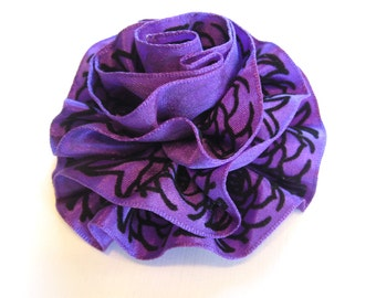 Pink or Purple Ruffled Fabric Flower Pin, Hair Clip, Fascinator, or Headband with Black Velvet Trim