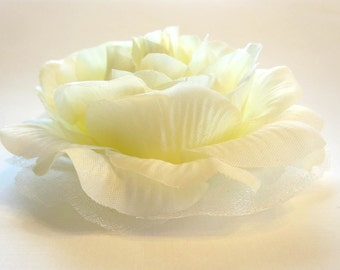 Ivory Cream Rose Fabric Flower Hair Clip, Brooch, or Pin