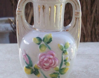 Vintage Made In Occupied Japan Bud Vase with Pink Wild Roses  Circa 1940's