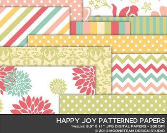 Pastel digital papers, digital backgrounds, floral background, 8.5x11 or 12x12 or A4