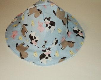 Baby Sun Hat - Infant Sun Hat - Ready To Ship  Size 3 To 6 Months - Summer Hat - Floppy Hat - Baby Boy Sun Hat - Baby Girl Sun Hat